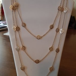 Tory Burch Gold 40in 3 strand Necklace